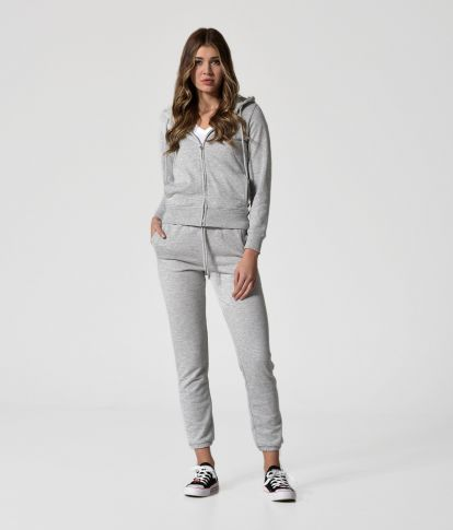 EMELIA ZIP JOGGING TOP, LIGHT GREY MELANGE