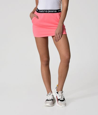 SHELLEY S SKIRT, NEON CORAL