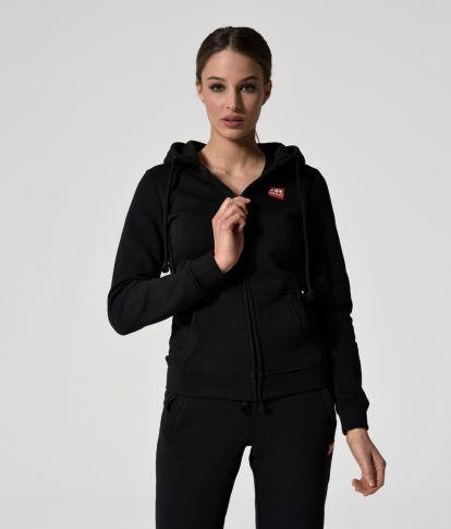 MYA ZIP JOGGING TOP, BLACK