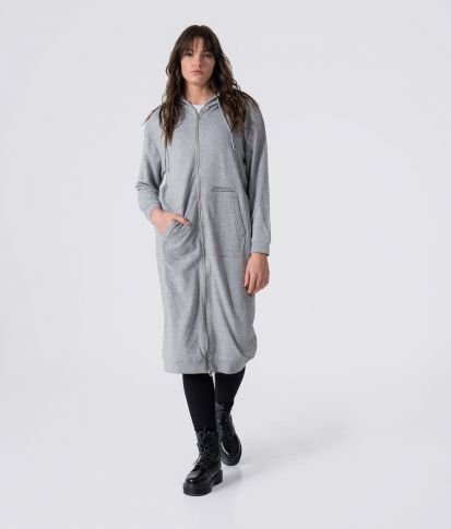 TETTY ZIP DRESS, GREY MELANGE