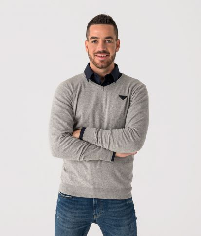 FTC KNITTED PULLOVER  KNITWEAR, GREY MELANGE