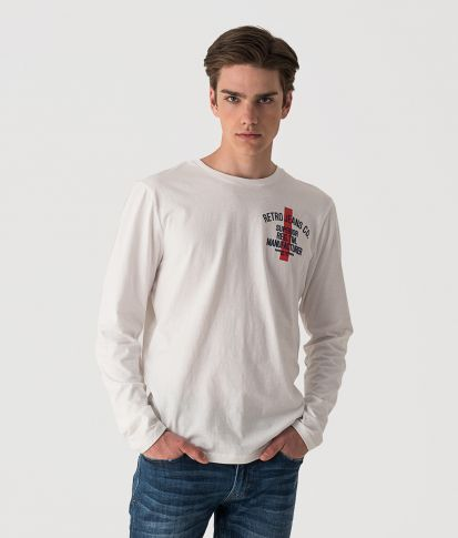 HOUSTON L-SLEEVE SHIRT L.S.TOP, OFFWHITE